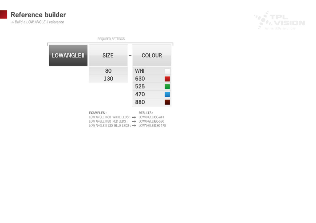 reference builder for Low Angle II, powerful light specialized in dark field illumination